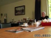 Teen bikini creampie Minnie Manga slurps breakfast with John and David.
