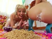 Milk lesbo babes get wam