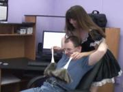 Sexy petite brunette maid gets fucked by the tech guy in his office chair