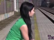 Asian teen 4 first time Masturbating at the train station