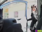 Hot brunette hitchhiker Bella Beretta gets banged at the back seat