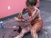 Horny bitch gets covered in whip cream and chocolate syrup