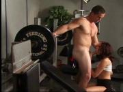 Submissive anal slut Taylor Rain chokes on a big dick at the gym before anal sex
