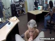 Black dude watches as his sexy tatted wife enjoys sitting on monster white cock