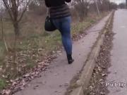 Redhead Czech flashing ass in public