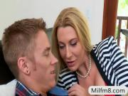 Busty milf Jennifer Best hot FFM threesome in the bedroom
