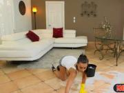 Stepmom uses petite teen as a mop to scrub the floor