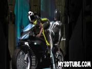 3D cartoon Tron babe getting fucked on a motorcycle