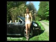 Exhibitionist babes outdoor striptease