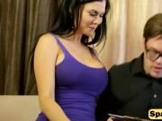 Big stacked masseur Jasmine Jae plays with a clients big dick