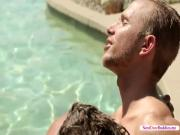 An incredible gay sex by the pool with Rob Ryder and Alex Greene. Vist nextdoorbuddies.me