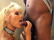 Blond chick sucks black dick in bathroom