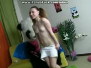 teddy bear with a pink dildo fuck girl