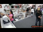 Brunette cutie banged in the pawnshop