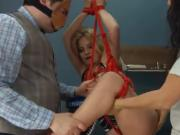 Extreme dildo analhole sex with rope BDSM teacher