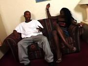 Black hooker gets her cunt slammed on couch