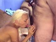 Hairy white balding guy gets to fuck a gorgeous blonde with awesome tits