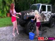 Teen Piper washing SUV while gets fucked by stepmum
