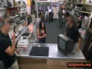 Hot latin chick trying to sell her TV banged by pawnshop guy