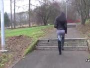 Slim babe flashing ass in public