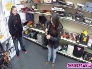 Horny hunk pawnshop owner caught lesbian stealing in his shop and he fucked her hard
