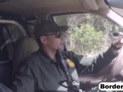 Petite Latina bribes a border officer with her tight pussy