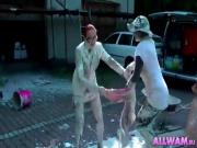 Lesbians In WAM Paint Bucket Cat Fight