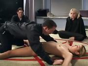 Asian satans worshiper slut is having an anal fucked inside a satans cyrcle