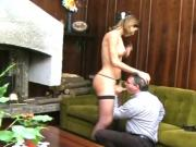Brunette tranny sucks and gets sucked, then takes her man's dick