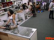 Bigtitted pawnshop babe cocksucking for cash