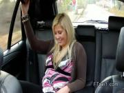 Blonde fucks till jizz in fake taxi