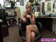 Pretty cute innocent blonde teen with a desperate ass fucked hard in the pawnshop