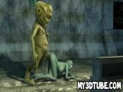 3D cartoon cat babe getting fucked by an alien