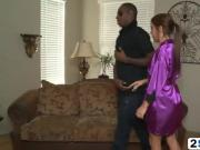 Petite Haley gives a horny black stud a soapy massage