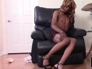 Ebony tgirl spraying her load