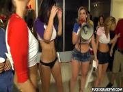 Four pornstar crash a college party