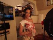 Hot glasses tgirl behind the scenes
