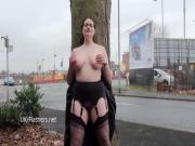 Chubby amateur flasher Alyss in public masturbation and outdoor exhibitionism
