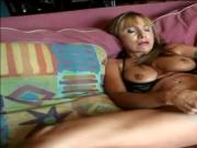 Stunning granny with perfect tits Luna plays alone