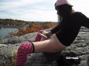 Whore with pink thigh highs naked in the woods!!!