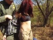 Redhaired babe gets pounded by nasty border patrol agent