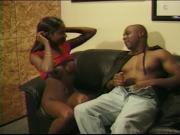 BBC penetrates ebony honey's cunt and mouth on the sofa