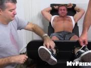 Exposed Connor laughs so hard on strap tickle chair
