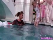 Bride Gets Dress Torn Off In Pool