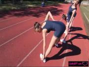 Three track stars fingering and oral sex