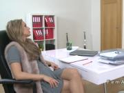 Beautiful blonde has oral with female agent