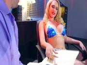 Beautiful busty babe Kagney Linn fucked hardcor on the desk