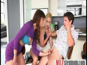 Stepmom Syren De Mer threesome with teen couple on the couch