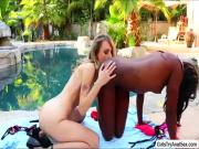 Blonde chick Natasha Starr gets slutty with ebony babe Ana Foxx
