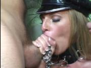Crazy threesome by leathered woman